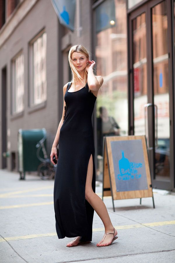 A black slip dress is a chic summer must-have.