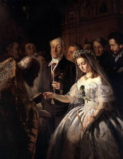 Beautiful detail to the dress in this painting. The Arranged Marriage by V.V.Pukirev, 1862