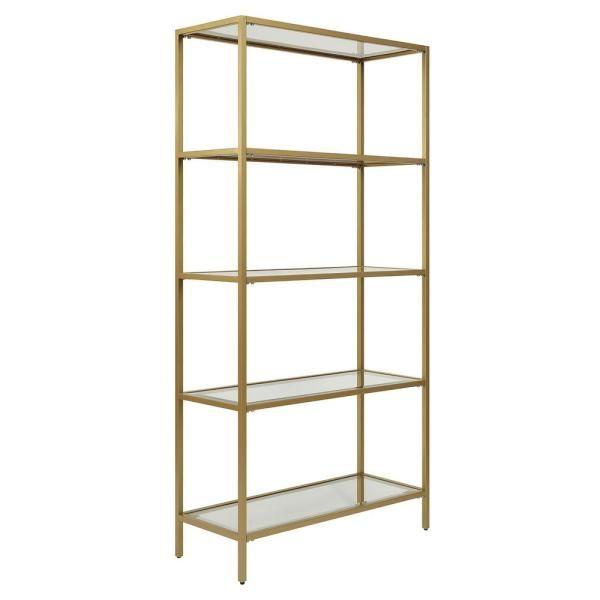 Carolina Cottage Marcello Gold Glass Shelf Bookcase Cl7234g Gld In