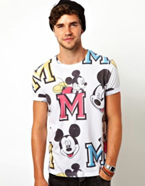 T-Shirt With All Over Varsity Mickey Mouse Print