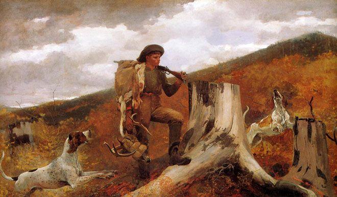 Winslow Homer (American 1836–1910) [Realism, Landscape, Marine] Huntsman and Dogs, 1891.