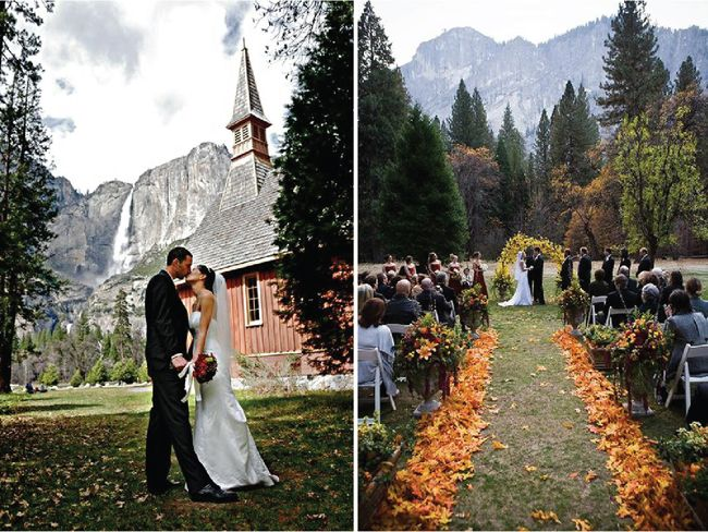 Yosemite National Park Wedding- I like the leaves along the aisle