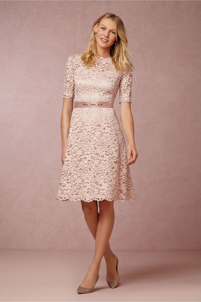 Blush lace mother of the bride dress with sleeves Evelyn Dress BHLDN