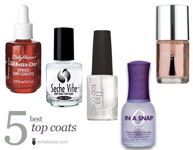 The 5 best top coats: tried & loved. These top coat nail polishes are drying, ensuring longevity & high shine. Sally Hansen Insta Dri, Seche Vite..