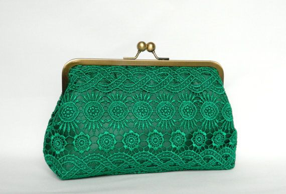 Emerald Green Lace Clutch Bridal Clutch bag Lace by TheHeartLabel