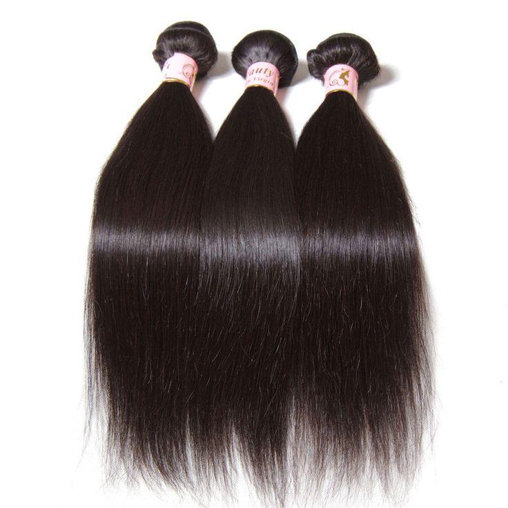 1/3 Bundles Silky Brazilian 7A Straight Human Virgin Hair Extensions Weft