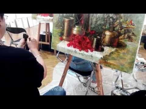 Мастер класс живописи Елены Ильичевой - CHERRY - Москва 2014 - YouTube