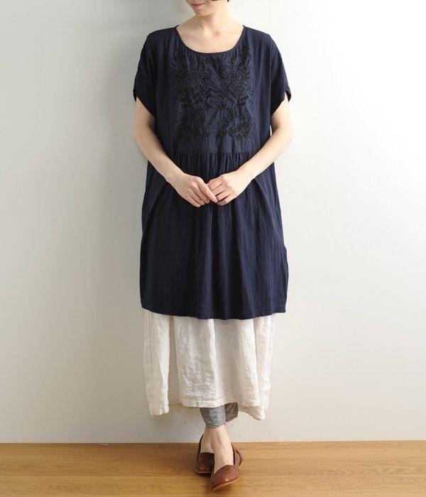 刺繍×スラブチュニック(C・ネイビー)
