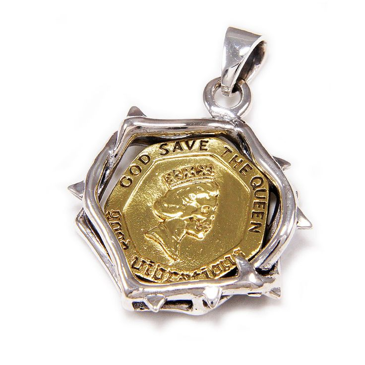 GOD SAVE THE QUEEN BRASS COIN 925 STERLING SILVER BIKER GOTHIC PENDANT gb-146