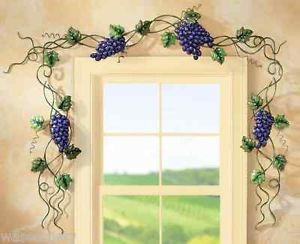 Grape Wall Decorations | ... Grape Grapevine Metal Around The Door Kitchen  Wall Decor