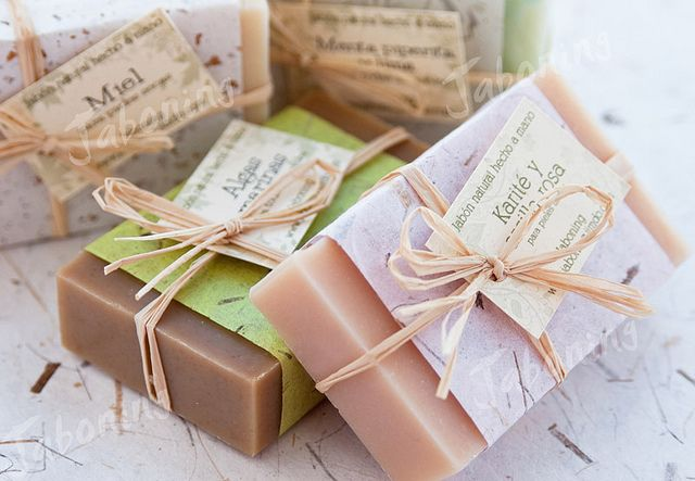 soap packaging - Packaged my homemade soap gifts similar to this but first wrapped in saran wrap then added homemade paper along with raffia tie. Very nice presentation..2013.