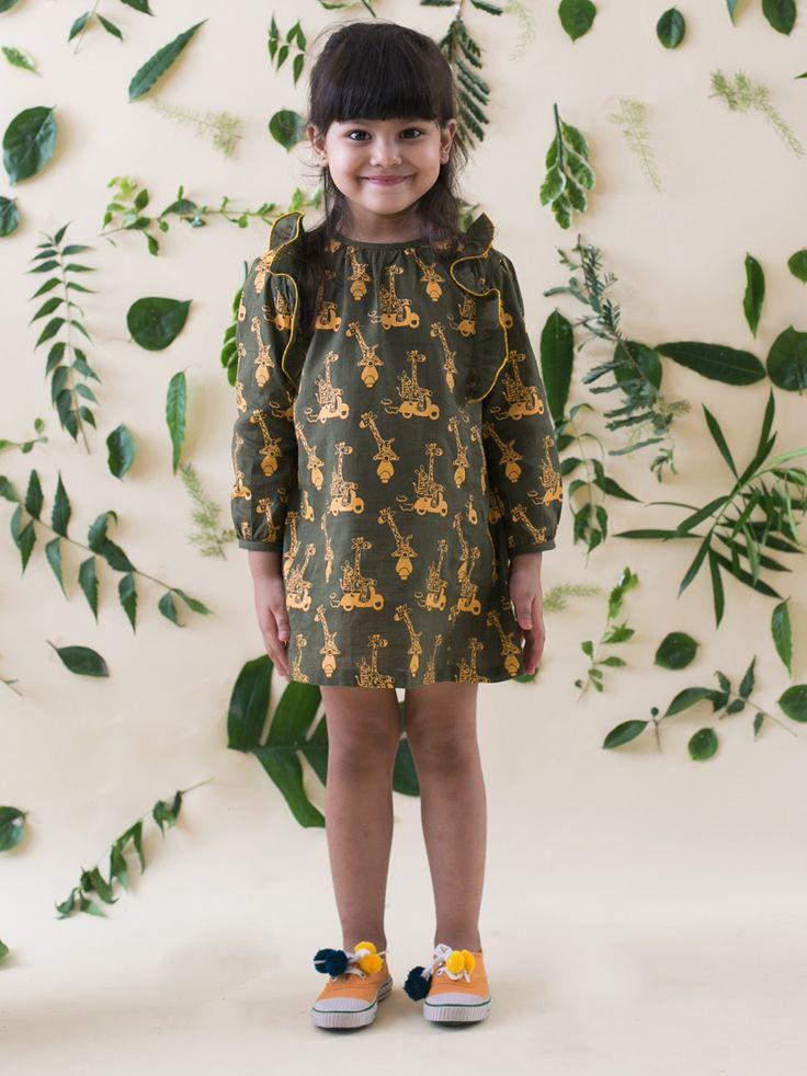 Buy Olive Green Giraffe and Zebra Print Dress