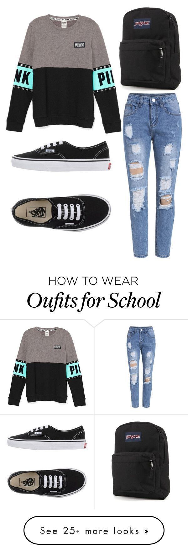 """School Comfy"" by oliviamca on Polyvore featuring Vans, JanSport, women's clothing, women's fashion, women, female, woman, misses and juniors – wholesale plus size womens clothing, shopping for womens clothing, clothing womens dresses"