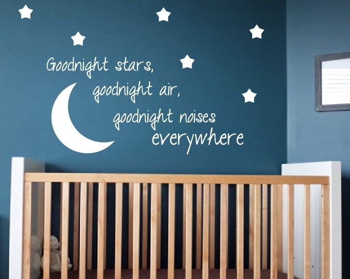 Kids room wall decal goodnight moon quote nursery decor for Kids room wall decor