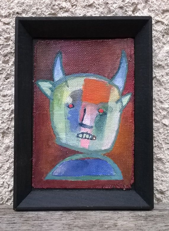 The Minotaur/ original surreal miniature oil by ZsofiVarga on Etsy