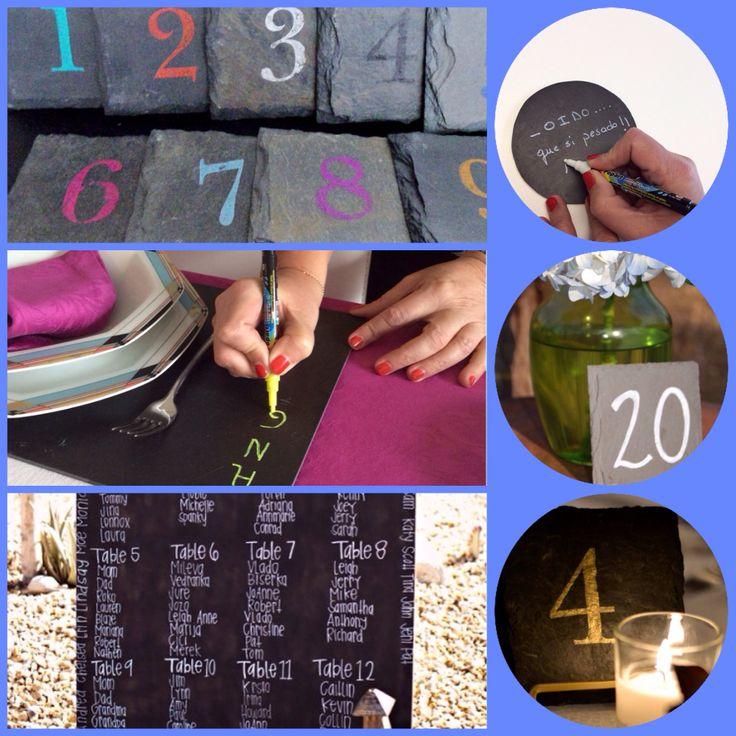 #idea #bodas #bodaclick #novios #invitados #mesas #números escribe sobre la pizarra deja un #mensaje a los #invitados en tu #boda