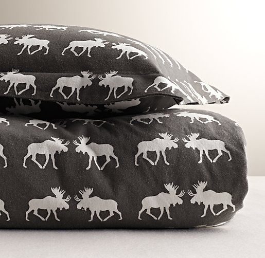 Moose Flannel Duvet Cover