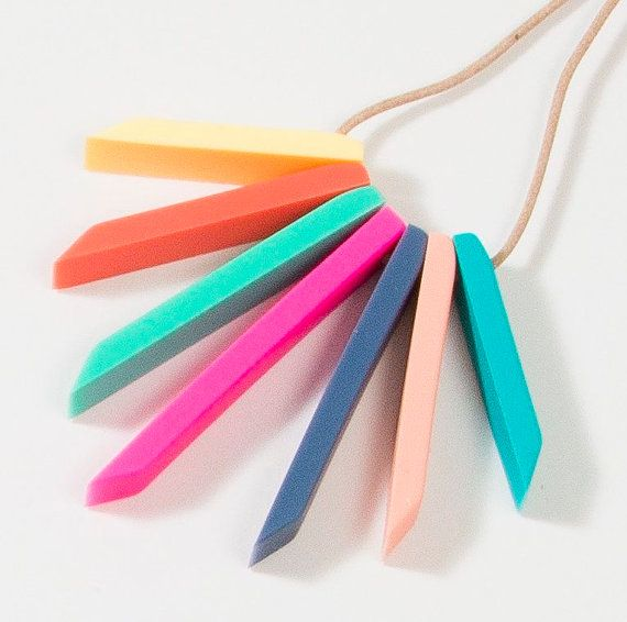 Multi Coloured Silicone Necklace by DearMabelHandmade on Etsy