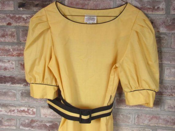 #Vintage Spring Dress -- Nautical inspired puff sleeve pocketed pinup dress