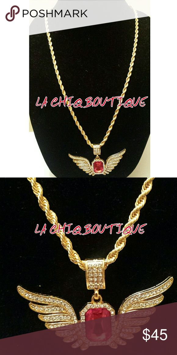 """24k Gold Plated Red Ruby Wings Rope Necklace Chain Trendy men's gold chain necklace with red ruby angel wings pendant. The rope chain measures 30"""" and the pendant is 4.8cm by 8cm. 24k gold plated (no stamp) with simulated diamonds through out the wings looks even better in person than in photos!!! Accessories Jewelry"""
