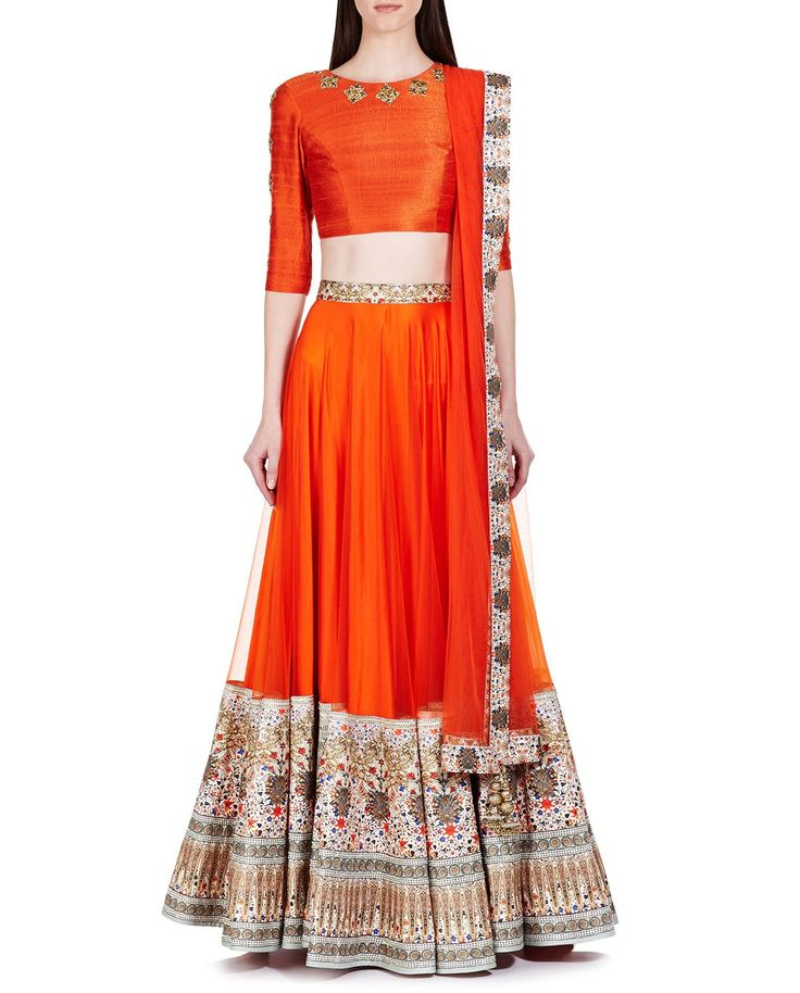 Printed Candy Orange Lengha with Embroidered Blouse