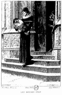 "Luc-Olivier Merson: Claude Frollo holding baby Quasimodo from Victor Hugo's ""The Hunchback of Notre Dame""."