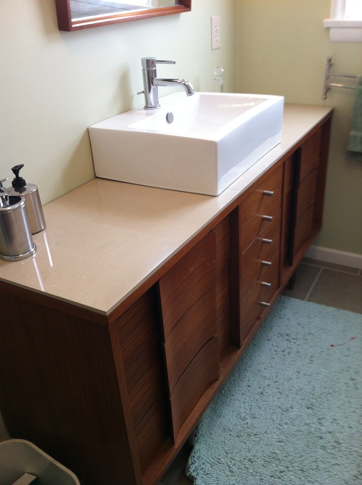 Our master bath vanity mid century dresser topped with 24 for Mid century modern bathroom vanity ideas