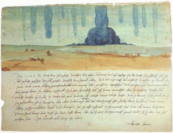 """Albrecht Dürer (1525). La mitad de la hoja es una acuarela que representa un paisaje con una copiosísima lluvia; en la otra mitad de la hoja el escrito cuenta que la inspiración para el diseño deriva de un sueño de 7 de junio de 1525;  """"grandes cantidades de agua"""" caían """"del cielo y el viento rugía"""". El sueño, confiesa, lo había afectado físicamente: """"Cuando desperté  todo mi cuerpo temblaba; no pude recuperarme sino mucho después""""."""
