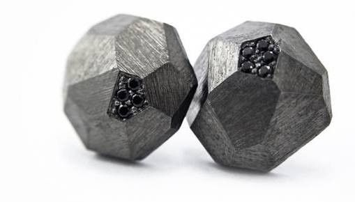 Nova Stud Earpieces - Rhodium Black. Hungarian contemporary jewelry