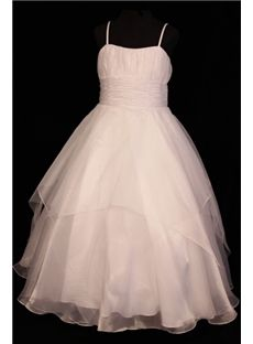 Also wonderful for the older girls...in a different color of course...ballet slippers, flower head crown with beautiful ribbon...add some lace...perfect...Lovely Ball Gown Spaghetti Straps Floor-length Flower Girl Dress with Trends:Dressfirm.com