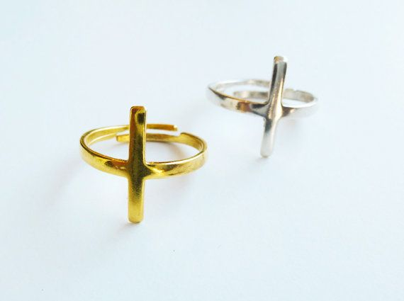 Sterling silver cross adjustable ring dainty by SoCoolCharms