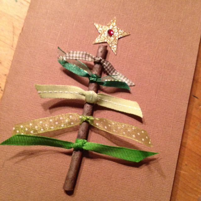 home made Christmas cards. Cinnamon stick wrapped with ribbon can be an ornament