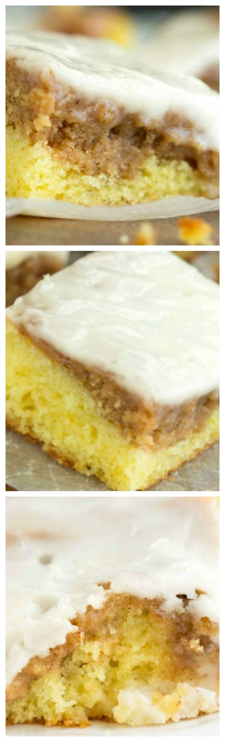 Easy Honey Bun Cake ~ A buttery yellow cake layer, topped with a cinnamon roll filling top layer. A vanilla glaze then smothers the entire cake with sweetness... This is an easy way to enjoy cinnamon rolls without the wait time of yeast rising.