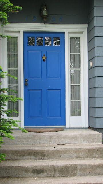 Blue door grey house white trim house pinterest - House with blue door ...