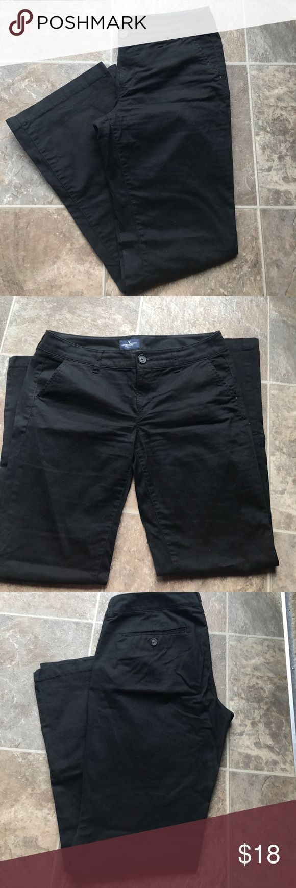 American Eagle- Black Khaki kick boot size 8short Black khaki kick boot size 8 short pants American Eagle Outfitters Pants Boot Cut & Flare