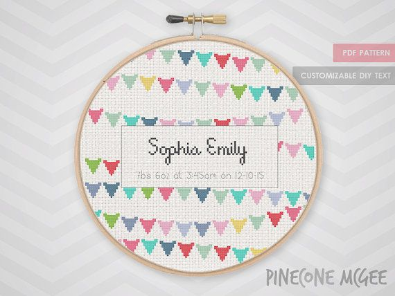 BABY BUNTING ANNOUNCEMENT counted cross stitch by PineconeMcGee