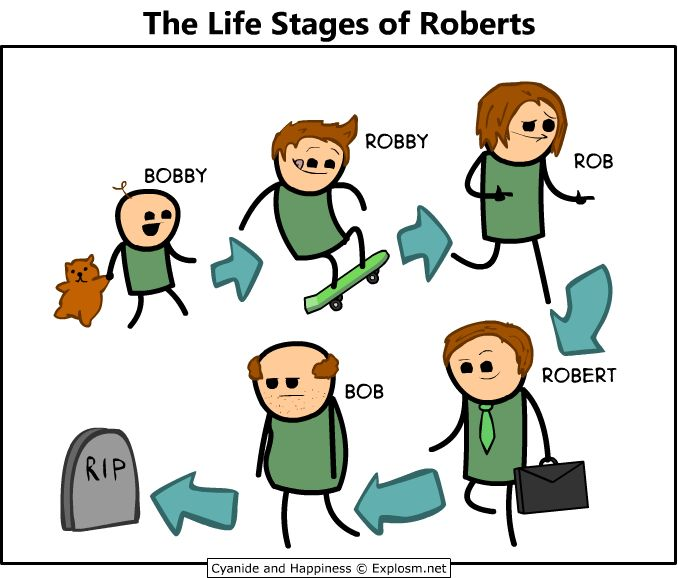 The life stages of Robert. Who makes this stuff up??! Lol cracks me up