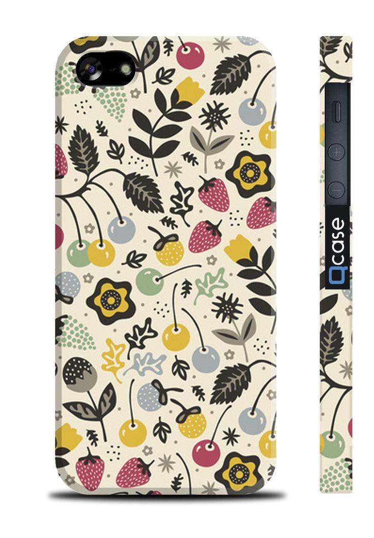 Чехол QCase для iPhone 5 | 5S Yagodki (пластиковый чехол, защитная пленка, заставка) купить в интернет-магазине BeautyApple.ru.