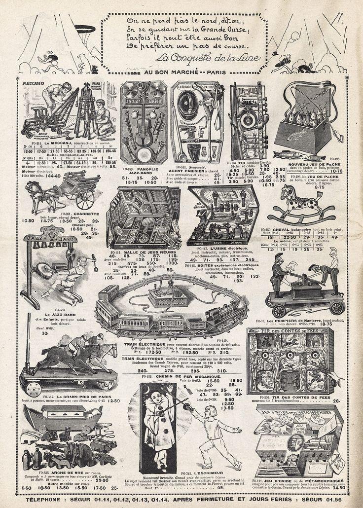 Musée national de l'Éducation Cinq catalogues du Bon Marché, à Paris, pour les étrennes. Au début du XXe siècle, les cadeaux sont distribués le 1er janvier plutôt qu'à Noël. Les catalogues paraissent donc en novembre de l'année qui s'achève.Catalogue de novembre 1923 pour les étrennes de 1924 : la panoplie d'agent de police a remplacé celle de soldat, et s'il subsiste un « tir des alliés », il est bien précisé qu'il s'agit d'un sport.