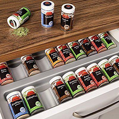 ORGA-BOX® Gewürzgläsereinsatz Gewürzdoseneinsatz / 486 x 28 x 473 mm / silbergrau / für 60er Schublade z.B. Nobilia ab 2013