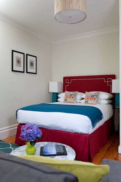"""This bedroom from """"Rachel Reider Interiors"""" has me thinking that the maroon furniture I have might still work with the peacock blue and green. Not my very favorite color combination, but this one at least works."""