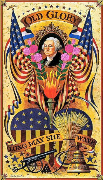 AN OLD GLORY POSTCARD WITH GEORGE WASHINGTON AND PINK ROSES. MAY OLD GLORY FOREVER WAVE !!!!
