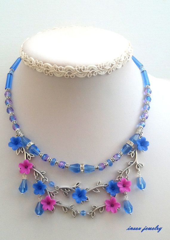 Blue Necklace Flower Necklace Romantic Jewelry by insoujewelry