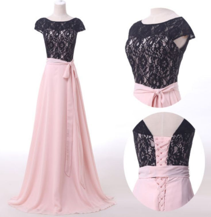 Cap Sleeved Lace A-Linie langes Abendkleid.   – perfectdresses–Prom Dresses