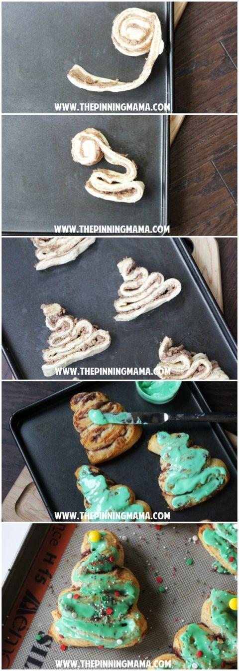 Fun Christmas breakfast idea made with @pillsbury cinnamon rolls!