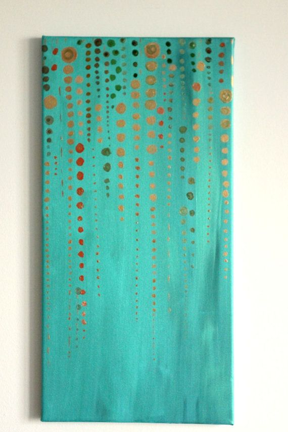 Modern original abstract, metallic acrylics, turquoise decor, gold beads, palette knife, vertical canvas