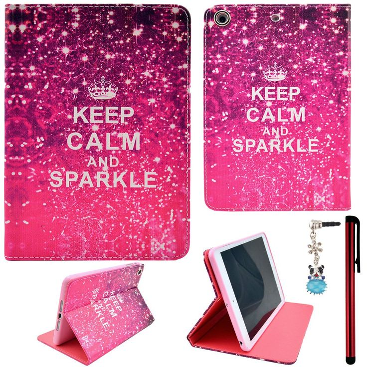 Keep Calm and Sparkle... Cute ipad mini case for girls.Ancerson Colorful Stylish Printed Series Integrated Ultra Slim PU Leather Protective Flip Folio Stand Case fit for Apple iPad Mini 2 Mini II,Mini 1 Mini I Free with a Red Stylus Touchscreen Pen, a 3.5mm Universal Crystal Diamond Rhinestones Bling Lovely Silvery Flower Blue Panda Pendant Dust Plug and a Cleaning Cloth.