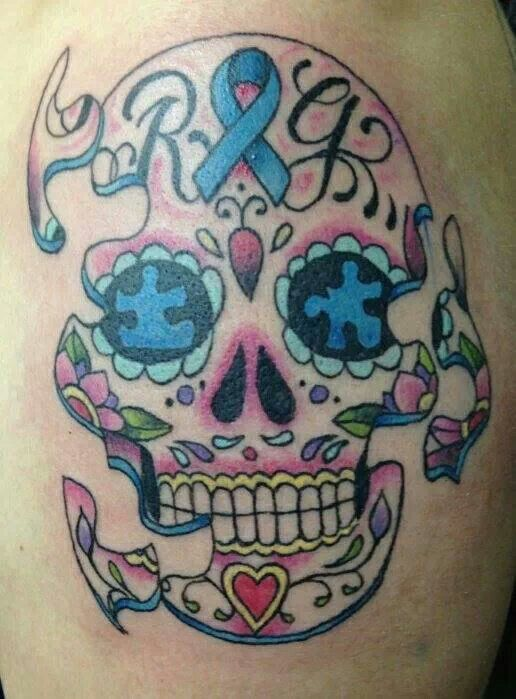Sweet Skull Tattoo Representing Autism...LOVE IT