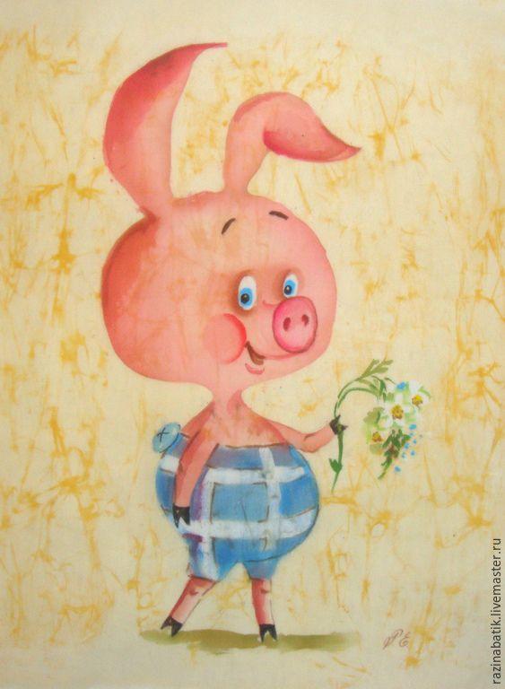 Купить Пятачок ( батик панно) - бледно-розовый, Пятачок, Винни Пух, мультфильм, картина