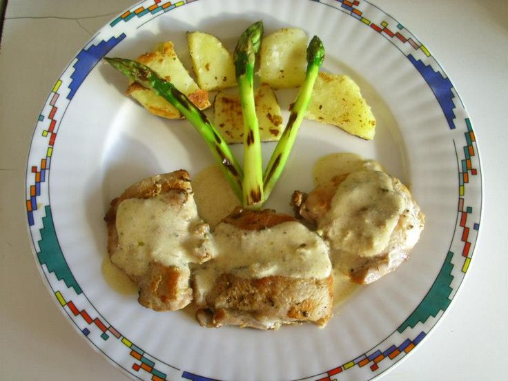 turkey roast with mustard sauce,baked potatoes and green asparagus